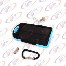 Power bank Solar 5000mAH 5 V, с резиновый корпусом и фонариком, голубой