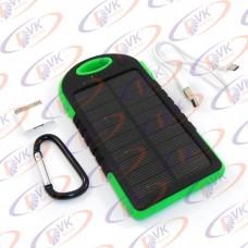 Универсальная мобильная батарея Solar 5000mAH 5 V, с резиновый корпусом и фонариком, зелёный