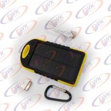 Универсальная мобильная батарея Solar 5000mAH 5 V, с резиновый корпусом и фонариком, желтый
