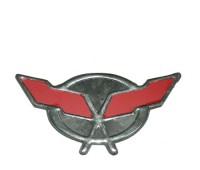 Наклейка на мотоцикл пластмасовая  ДВА ФЛАГА КРАСНЫЙ