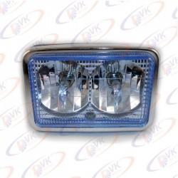 Мото фара квадр. двойная  (с галоген)  голубое стекло CG-125