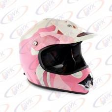 Кроссовый шлем KY-B12A розовый с белым, размер L