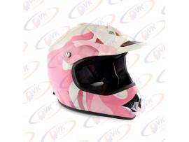 Кроссовый шлем KY-B12A розовый с белым, размер S
