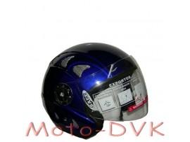 Мотошлем DVKmoto QL-K52 abs синій без щелепи