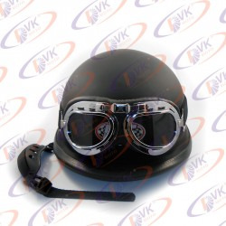 Мотокаска немецкая черная матовая с очками MoтоTech размер M