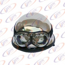 Каска німецька хроммірованная з окулярами МТ