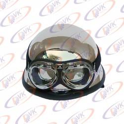 Каска немецкая хроммированная с очками МТ