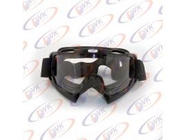 Мотоочки кроссовые Vega MJ-100 чёрные, белое стекло