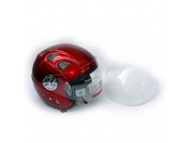 Шлем для скутера DVKmoto -52 красный, размер S   дополнительное стекло антискраб