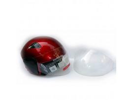 Шлем для скутера DVKmoto -55 красный, размер М   дополнительное стекло антискраб