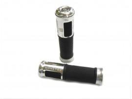 Ручки керма Монстр алюмінієві з гумовими вставками, срібло