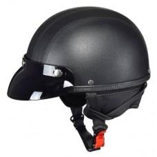 Мотокаска черная кожа с козырьком Awina AIX-015, размер M