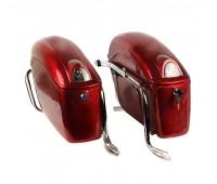 Кофры боковые овал с поворотом,пластик красные (к-т 2 шт)
