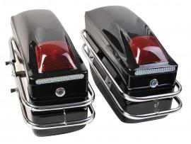 Боковые кофры для мотоцикла пластиковые, черные (к-т 2 штуки)