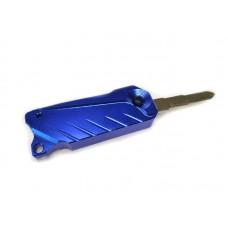 Брелок для ключей с заготовкой ключа (выкидной) алюминиевый, синий