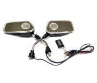Мото дзеркала з аудіосистемою і сигналізацією, різьблення 10 мм чорні (№204)