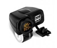Зарядное USB на 2 выхода с вольтметром и термометром