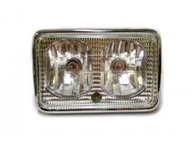 Фара квадратная двойная (с галогеновыми лампами) белое стекло CG-125-5