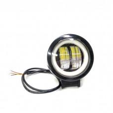 Додаткова LED фара з чіткою світлотіньовою межею і жовтим габаритом, кругла чорна