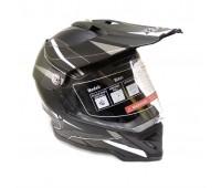 Шлем мотард BLD (819-7) чёрный с белым матовый, размер М