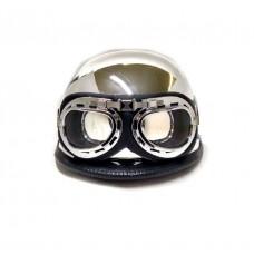 Мотокаска немецкая хром с очками MoтоTech,  размер L