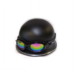 Каска немецкая матовая черная с очками MAX-130