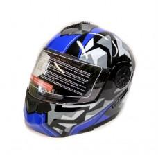 Мотошлем модуляр с очками F2 черно-синий, размер M