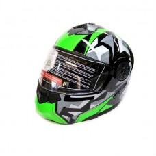 Мотошлем модуляр с очками F2 черно-зеленый, размер M