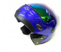 Мотошлем с подъемной челюстью  MoтоTech HF-108 синий, размер S