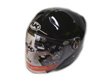 Мотошлем без челюсти AK-720 с очками черный, размер L