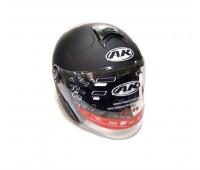 Мотошлем без щелепи з окулярами AK-720 чорний матовий, розмір L