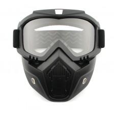 Мотоочки с маской М-655 чёрные, белое стекло