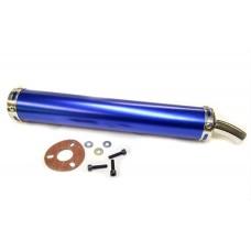 Прямоток на мотоцикл 360 * 60 мм кріплення d 45 (синій)