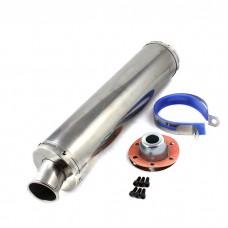 Прямоточный глушитель 425*100 мм крепление d 82 (хром)