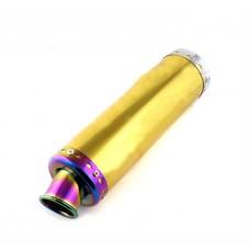 """Прямоток на скутер (глушитель прямоточный) """"золото-наконечник радуга"""", 300*90мм"""
