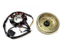 Генератор на скутер 50сс 4T QT-50, QT-26, QT-6А (6 + 2 катушек, 2 + 2 контакта)