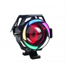 """LED фара с """"ангельским глазом""""  U7  черная,  Multicolor подсветка"""