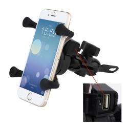 Держатель телефона на руль + USB-разъем