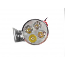 LED фара 4 диода серебро (с креплением)