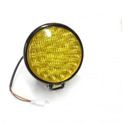 Светодиодная фара черная, желтое стекло (с кронштейном)
