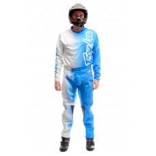 Мотокостюм кроссовый Fox бело-голубой, размер L/34