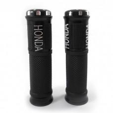 Грипсы на скутер резиновые Нonda с алюминиевыми наконечниками, черные (к-т 2 штуки)