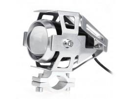 Светодиодная фара LED мотоцикла, для скутера U5 цвет серебро (в защитном корпусе)