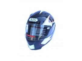 Мотошлем AIS cyclone черно-белый, размер XL (со съемным воротником)