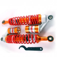 Газовые амортизаторы на мотоцикл  регулируемые с подкачкой  340мм , цвет - красный