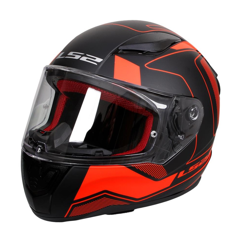 Мотошлем LS2 FF353 Rapid Carrera HI-Vis Black-Red-Grey, размер L